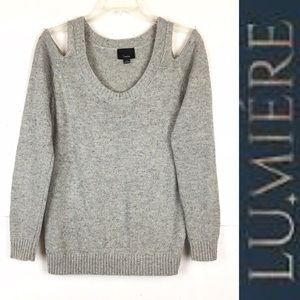 LUMIERE Grey Cold Shoulder Sweater